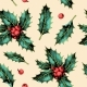Seamless Pattern with Holly Leaves and Berries - GraphicRiver Item for Sale