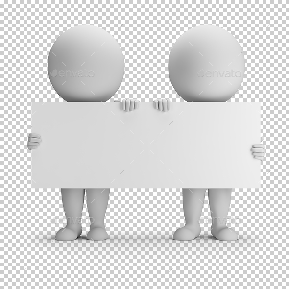 3D Small People - Two Keep an Empty Board - Characters 3D Renders
