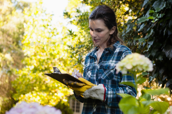 Female gardener writing on clipboard by flowers - Stock Photo - Images