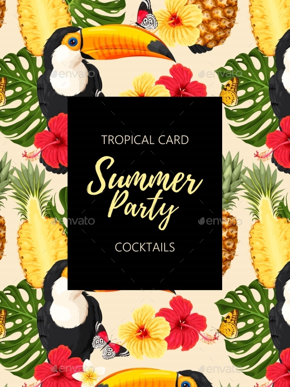 Tropical Summer Card with Toucans and Flowers - Flowers & Plants Nature