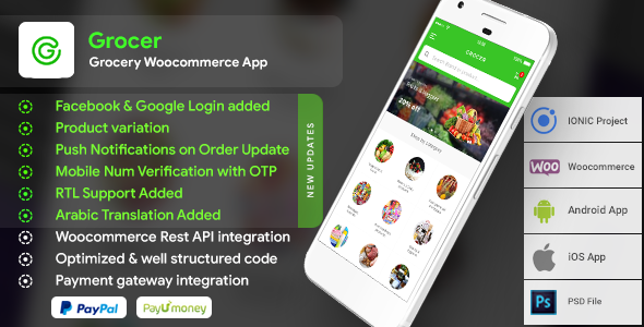 Grocery Android App with Woocommerce Backend + Grocery iOS App |  Full Application | Grocer - CodeCanyon Item for Sale