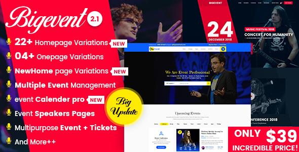 BigEvent- Conference Event WordPress Theme - Events Entertainment