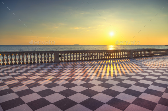 Mascagni Terrazza Terrace Belvedere At Sunset Livorno Tuscany I