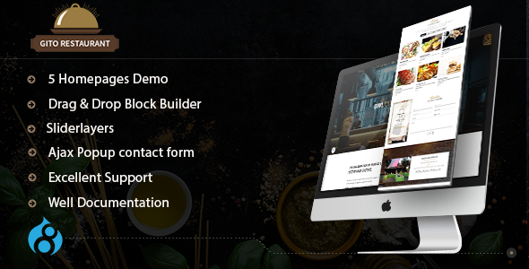 GITO - Cafe & Restaurant Drupal 8.6 Theme - Food Retail