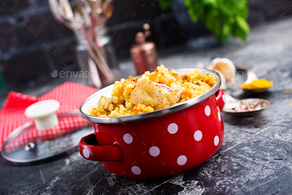 fried chicken with rice - Stock Photo - Images