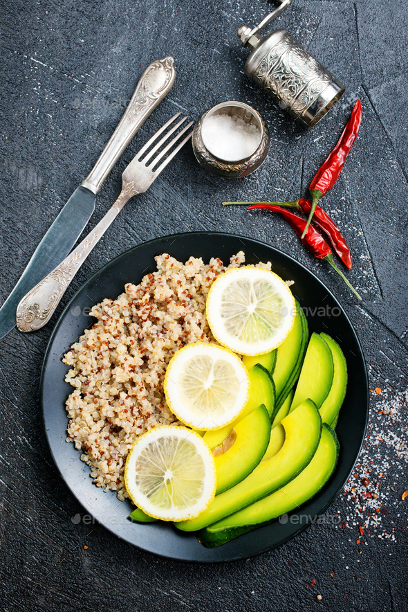 qinoa with lime and avocado - Stock Photo - Images