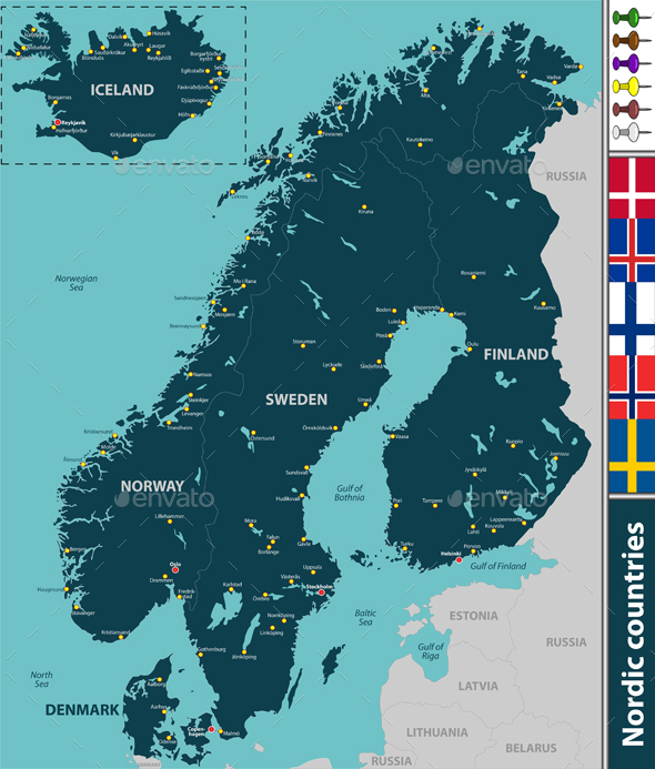 Map of Nordic Countries by sateda2012 | GraphicRiver