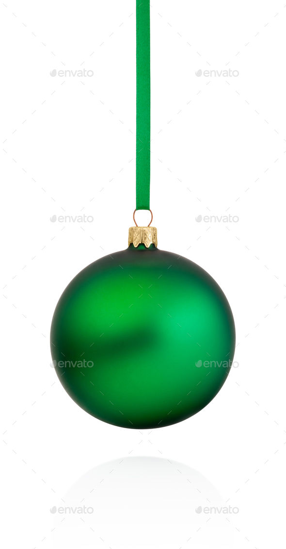 Green Christmas bauble hanging on ribbon Isolated on white backg - Stock Photo - Images