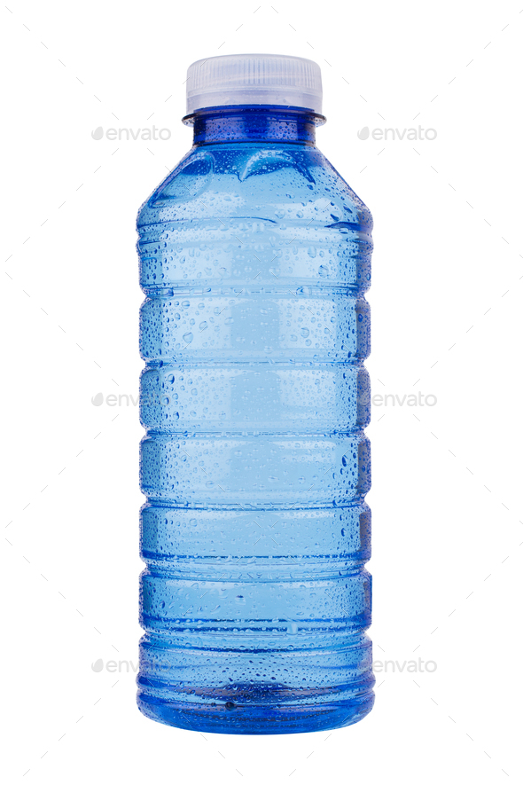 blue plastic vitamin water bottle on white background - Stock Photo - Images
