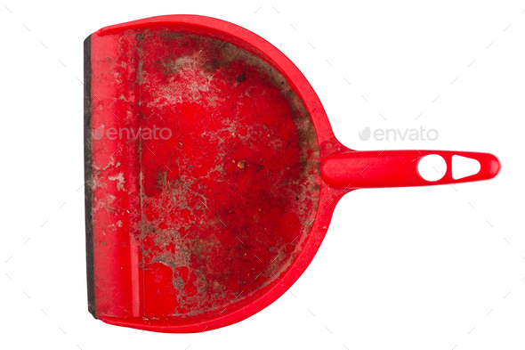 closeup of dirty red dustpan on white background - Stock Photo - Images
