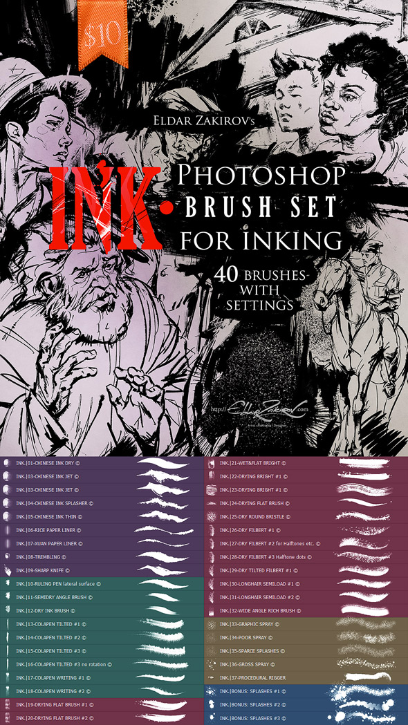 INK. 40 Photoshop Brushes for Inking + Photoshop Action