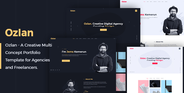Ozlan - A Creative Multi-Concept Portfolio Template for Agencies and Freelancers