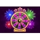 Vector Purple Wheel of Fortune and Firework - GraphicRiver Item for Sale