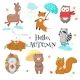Autumn Animals Icon Set Vector Isolated - GraphicRiver Item for Sale