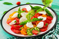 Mozzarella cheese, tomatoes and basil herb leaves in plate on the white wooden table.  - PhotoDune Item for Sale