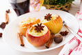 Stuffed baked apples with cottage cheese, raisins and almonds for Christmas - PhotoDune Item for Sale