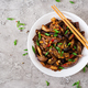 Hot spicy stew eggplant in Korean style with green onion. Aubergine saute. - PhotoDune Item for Sale