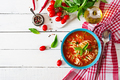 Minestrone, italian vegetable soup with pasta. Tomatoes soup. Vegan food. Top view. Flat lay. - PhotoDune Item for Sale