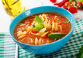Minestrone, italian vegetable soup with pasta. Tomatoes soup. Vegan food. - PhotoDune Item for Sale