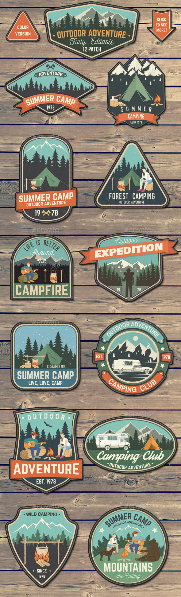 Outdoor Adventure Patches - Badges & Stickers Web Elements