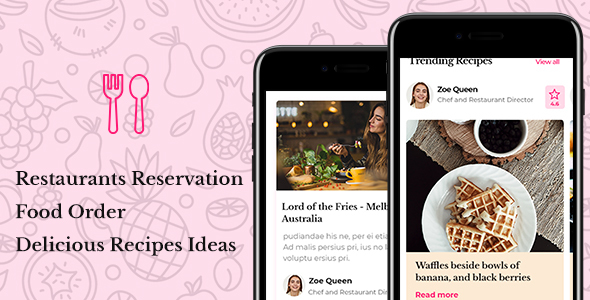 Vanille - Restaurant Reservations & Food Delivery Mobile Template
