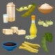 Soya Food Products Set, Milk, Oil, Sauce, Tofu - GraphicRiver Item for Sale