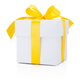 White gift box tied yellow ribbon Isolated on white background - PhotoDune Item for Sale