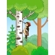 Woodpecker Sitting on a Tree and Knocks - GraphicRiver Item for Sale