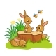 Rabbits Sitting Around the Stump - GraphicRiver Item for Sale