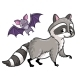 Raccoon and Bat on a White Background - GraphicRiver Item for Sale