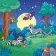 Background with Animals in the Night Forest - GraphicRiver Item for Sale
