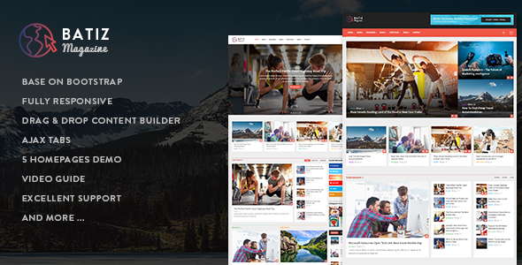 Batiz - Responsive Magazine News Drupal 8.6 Theme - News / Editorial Blog / Magazine