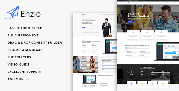 Enzio - Responsive Multipurpose Business Drupal 8.6 Theme - Business Corporate