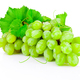Fresh bunch of green grapes with leaves isolated on white backgr - PhotoDune Item for Sale
