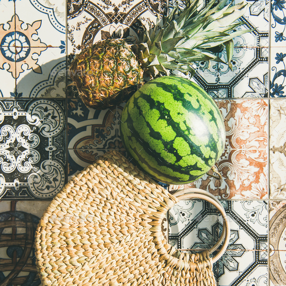 Summer lifestyle background with fruits and straw bag, square crop - Stock Photo - Images