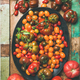 Flat -lay of fresh colorful tomatoes on plate, vertical composition - PhotoDune Item for Sale