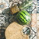 Summer lifestyle background with fruits and straw bag, square crop - PhotoDune Item for Sale