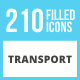 210 Transport Filled Round Corner Icons - GraphicRiver Item for Sale