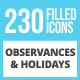 230 Observances & Holiday Filled Low Poly Icons - GraphicRiver Item for Sale