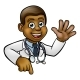 Doctor Cartoon Character Above Sign Pointing - GraphicRiver Item for Sale