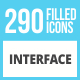 290 Interface Filled Round Corner Icons - GraphicRiver Item for Sale
