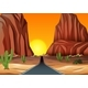 Sunset In The Desert With Road - GraphicRiver Item for Sale