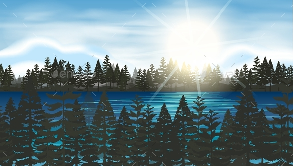 Pine Forest At The Lake - Landscapes Nature