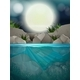 A Big Full Moon Night At The River - GraphicRiver Item for Sale