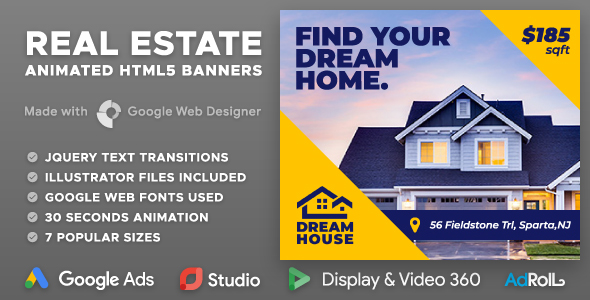 Dream House - Real Estate HTML5 Banner Ad Templates (GWD) - CodeCanyon Item for Sale