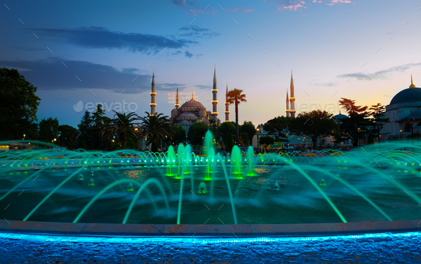 Blue Mosque at evening in Istanbul - Stock Photo - Images