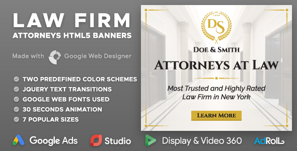 Law Firm - Attorney at Law HTML5 Banner Ad Templates (GWD) - CodeCanyon Item for Sale