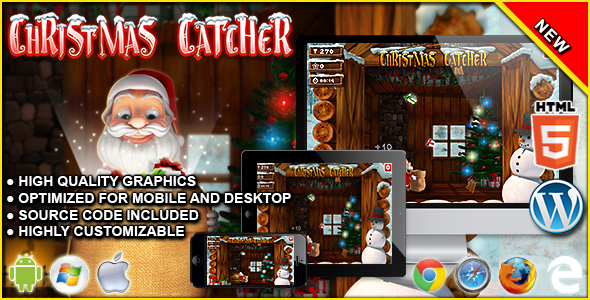 Xmas Catcher - HTML5 Arcade Game - CodeCanyon Item for Sale