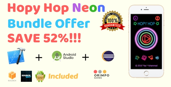 Hopy Hop Neon Bundle - Buildbox Game Template + eclipse + android studio + iOS xcode            Nulled