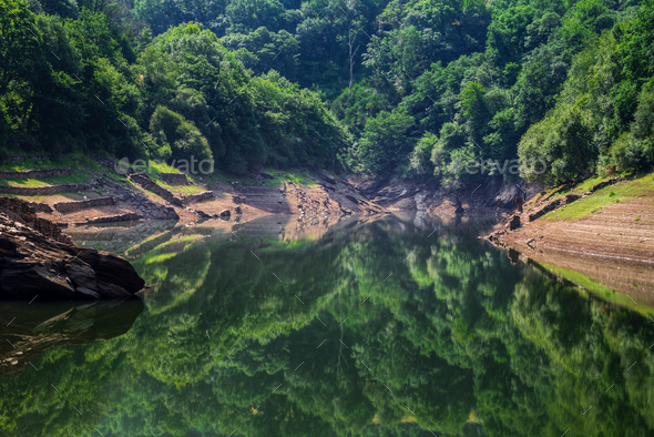 Calm waters reflect the forest in a river - Stock Photo - Images